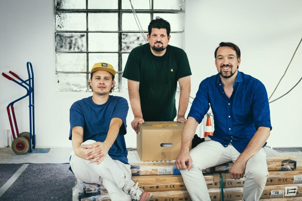 Sie bringen die Blueberry Food Studios auf den Weg: Johannes Arendholz und Sebastian Heinz von FOODBOOM, und Jan Spielhagen (mitte) von Gruner + Jahr.
