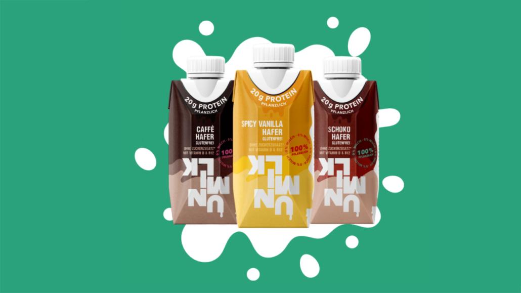 Vegan protein drinks in three different varieties