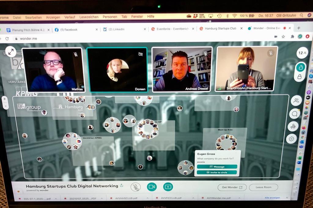 So sah es beim ersten virtuellen Meetup des Hamburg Startups Club aus. Das Treffen des FIC-Club wird ähnlich ablaufen.