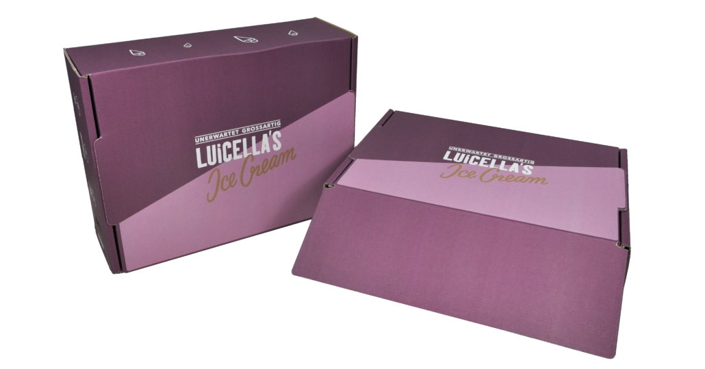 Diese Versandverpackung hat THIMM für die Eismarke Luicella's entwickelt.
