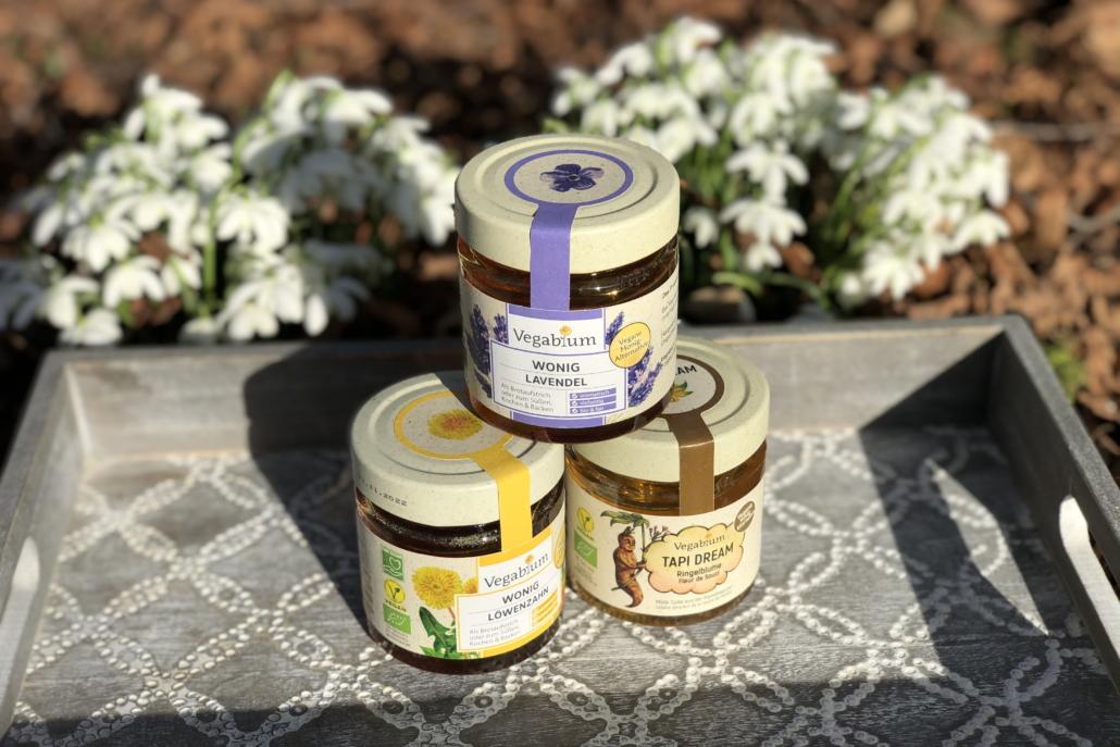 So sehen die Honig-Alternativen von Vegablum aus.