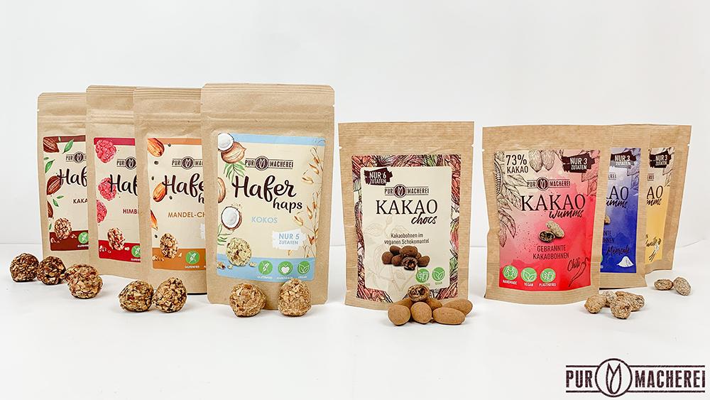 HaferHAPS und KakaoCHOCS gibt es in verschiedenen Sorten. (Foto: PURmacherei)