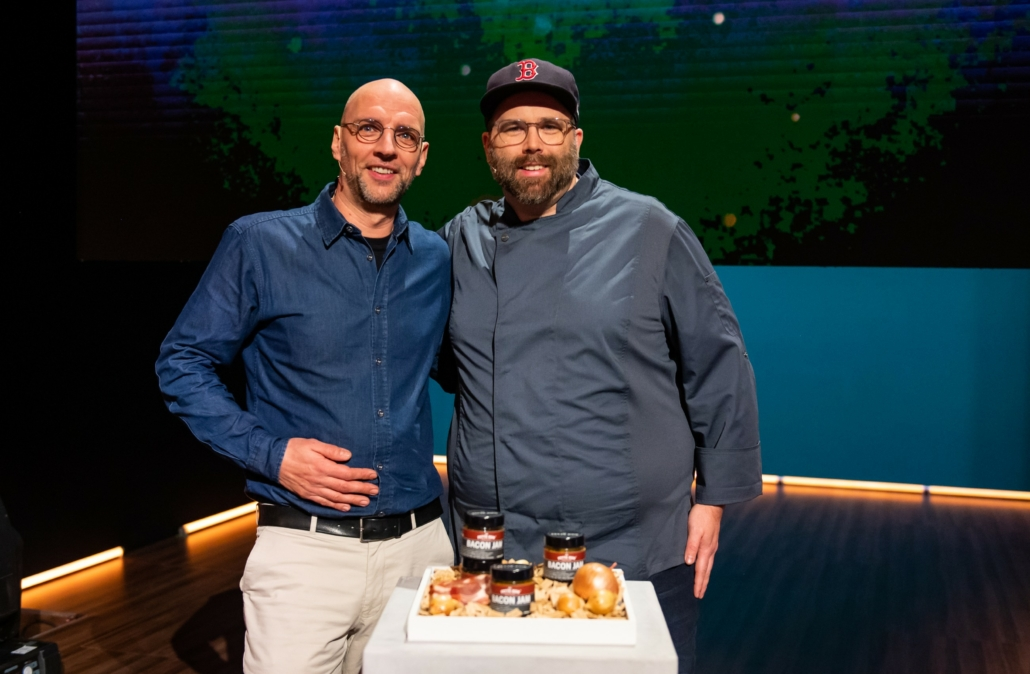 Martin Block und Walter Schnerring mit Die fette Kuh Bacon Jam.